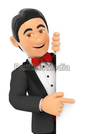 3d tuxedo man pointing aside blank