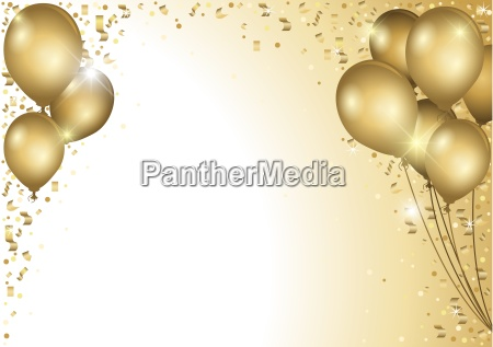 gold ballone und fallen konfetti