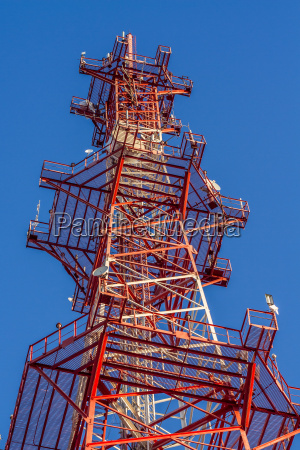 antenna of communication building and blue