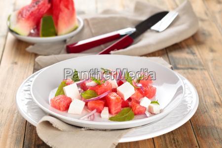 wassermelonensalat in der platte