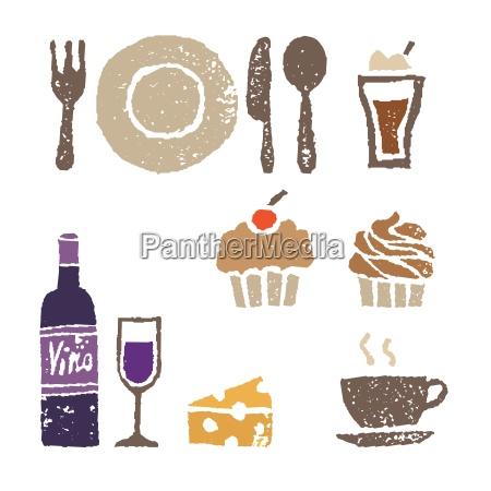 wein und suessigkeiten restaurant elemente illustration