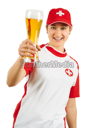 happy swiss sports fan cheering with