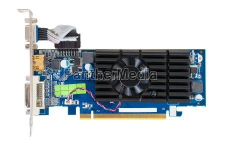 computer graphics card on white background
