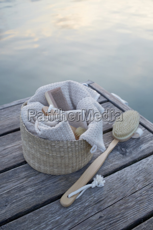 towels and brush on dock wolfgangsee