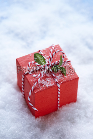 red christmas gift box with boxwood