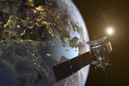 digital illustration of satellite orbiting the