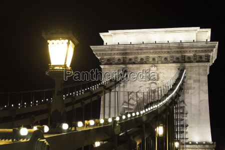 szechenyi chain bridge at night budapest