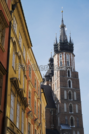 close up of tower of church