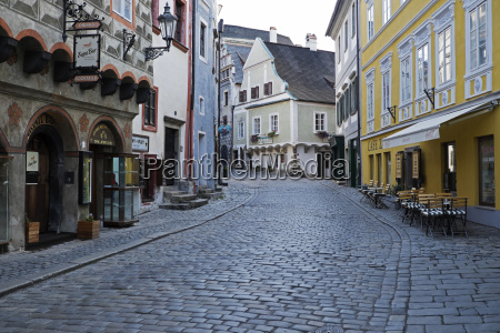 cobblestone city street and historical buildings