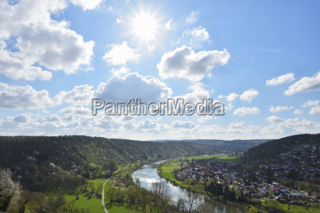 overview of river main with sun