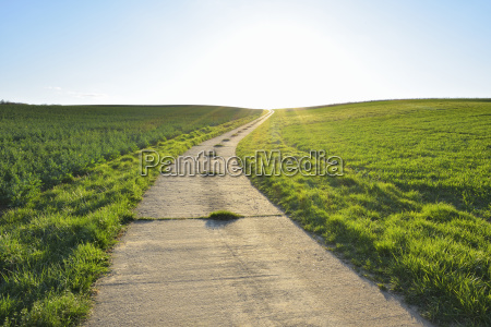 road through field with sun helmstadt