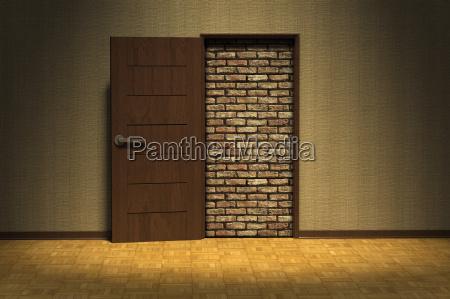digital illustration of doorway blocked by