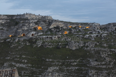 sassi of matera at dusk with