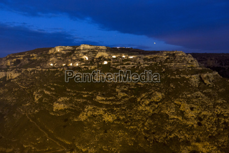 sassi of matera at night with