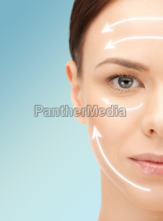beautiful young woman face with facelift