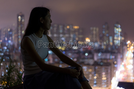 woman enjoy the city view in