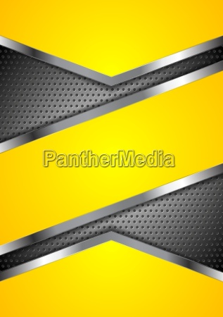 abstract yellow perforated background with metallic