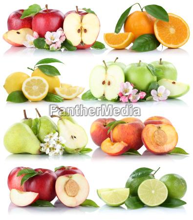 isolated fruit apple orange lemon nectarine