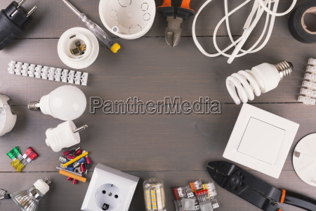 top view of electrical tools and