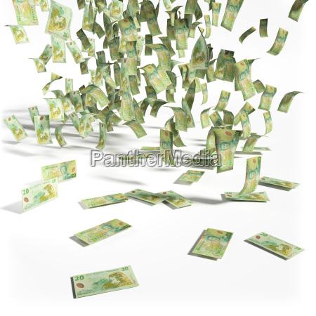 geldregen aus 20 neuseeland dollarscheine