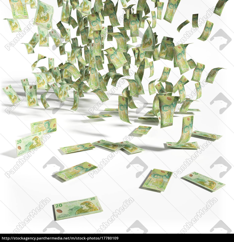 Geldregen aus 20 Neuseeland Dollarscheine - Stockfoto - #17780109 ...