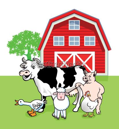 five farm animals