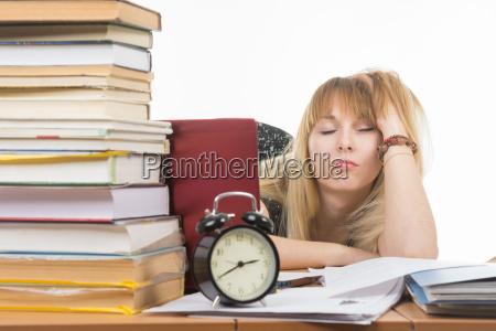 student fell asleep leaning his head