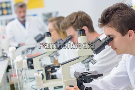 studenten mit mikroskopen