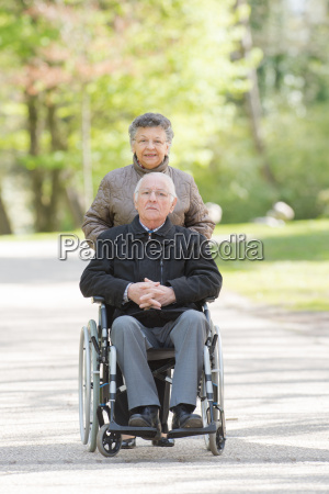 elderly couple on a walk
