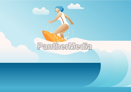 woman surfing the waves a hand