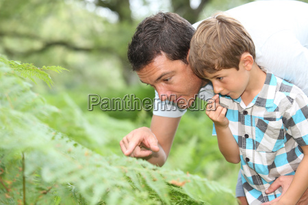 father and son in forest looking