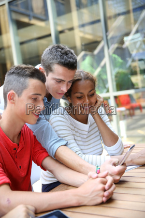 young people connected on internet in