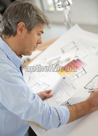 architect working on construction project in