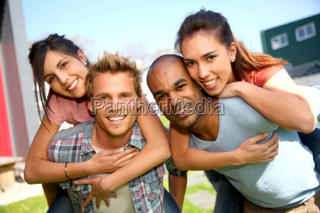 group of students having fun outside