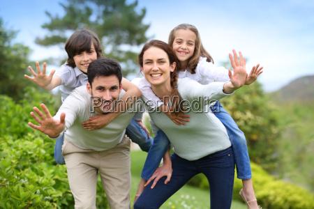 happy family having fun in home