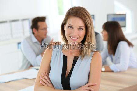 portrait of beautiful woman attending business