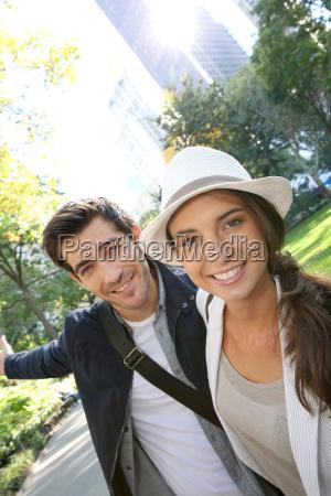 couple of tourists having fun visiting