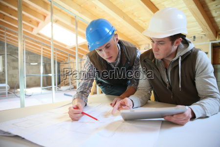 young men in professional training working