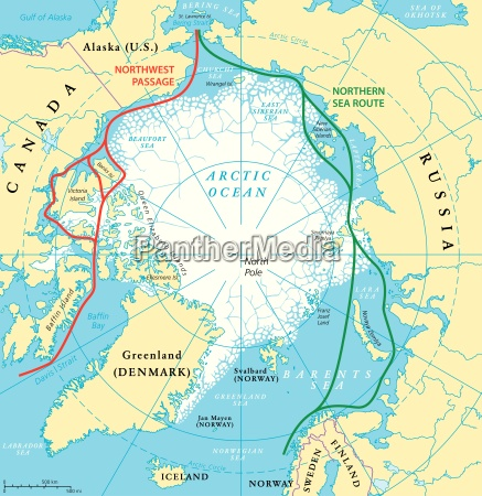 arktische ozean seewege karte