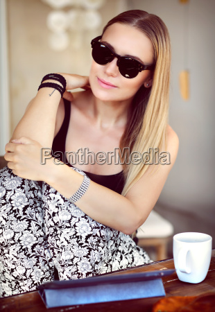 beautiful woman at outdoor cafe