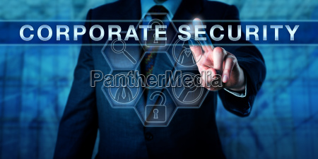 business manager touching corporate security