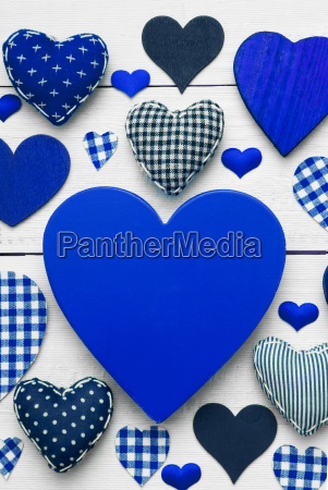 vertical greeting card with blue heart