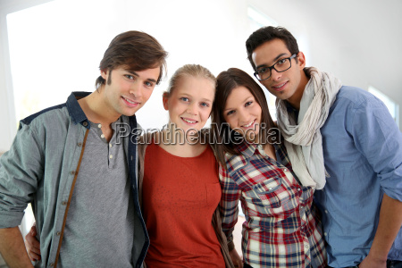 group of cheerful students standing in