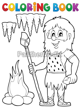 coloring book cave man theme 1