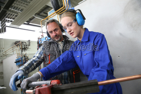 young woman in professional training to