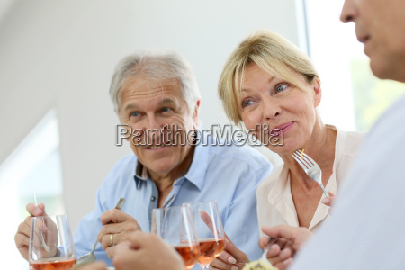 portrait of senior people at lunch