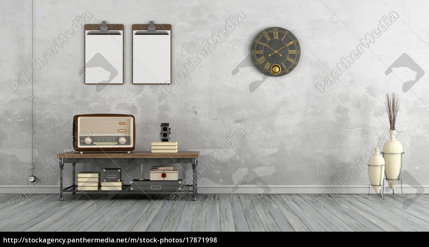 Stock Bild 17871998 Vintage Wohnzimmer Mit Alten Radio