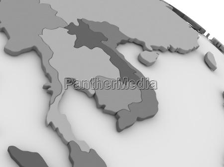 thailand auf grauer 3d karte