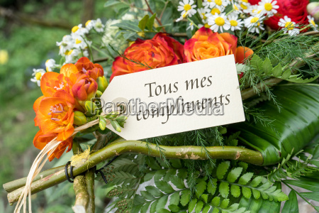 french greeting card with red flowers