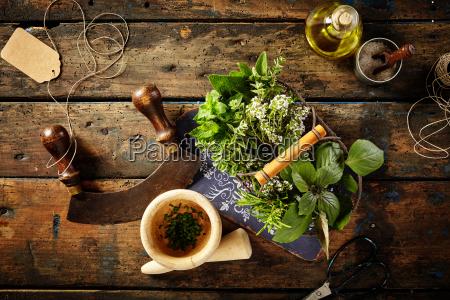herbs oil and mezzaluna over old